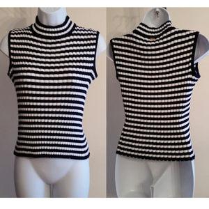 st. john sport stripe wool blend mock neck S
